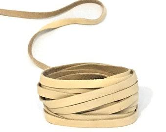 "Light Tan Leather Strips 5mm / Lambskin Strip / Ivory Leather Strip / Off White Leather Strip / Bracelet Leather / 36"" Length"