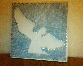 Angel string art with blue string made to order
