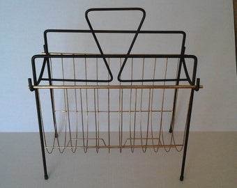 MCM Metal Magazine Rack, Two Tone 60s Magazine Rack