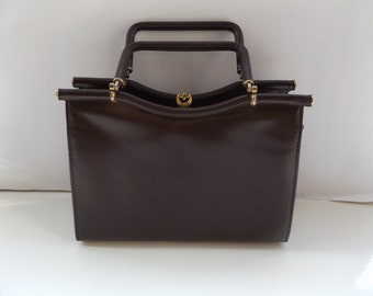 vintage 40s 50s brown leather handbag kelly bag