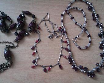 3 burgundy bead necklaces