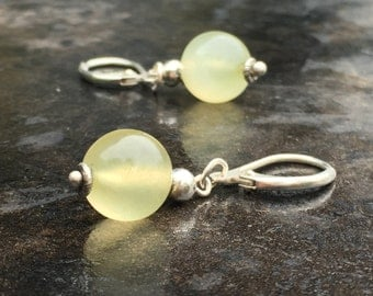 Sterling and olive jade earrings, soft green stones with delicate silver findings, Bali silver
