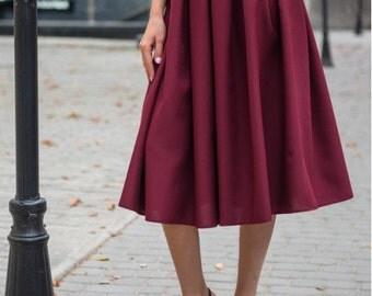 Burgundy  midi skirt / Spring Autumn Summer skirt for women / casual skirt / skirt Cocktail Party / office business woman