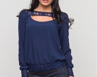 Dark blue blouse  / Crepe Chiffon Blouse  / Elegant blouse for women , office blouse , Guipure woman blouse
