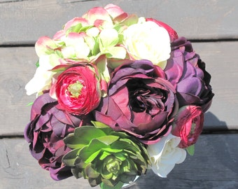 Purple, Ivory, Burgundy & Soft Green Bridal Bouquet, Silk Bridal Bouquet, Rose Bridal Bouquet, Eggplant Bouquet, Hydrangea Bouquet