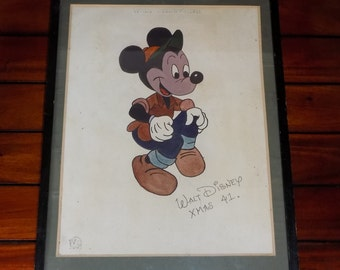A Vintage 1941 Walt Disney Mickey Mouse Original Drawing Embossed Paper Signed