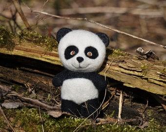 needle felted panda, needle felted animal, miniature panda, panda toy, cute panda, soft toy, wool felting, lovely panda, home decoration