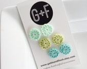 Crochet Stud Earring Trio - Mint, Wasabi, Robin's Egg - handmade earring, crochet earring