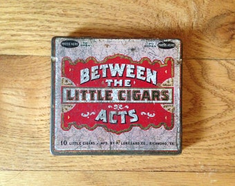 Between The Acts Cigar Tin ~ 1950 graphic wonderful!