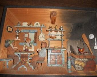 Vintage German Wood Diorama
