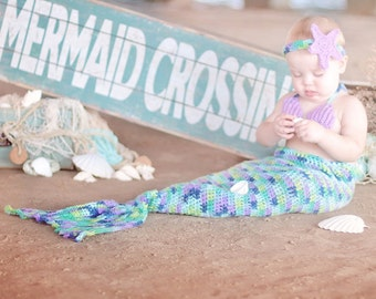Crochet mermaid outfit for baby girl, toddler girl, costume, photo prop