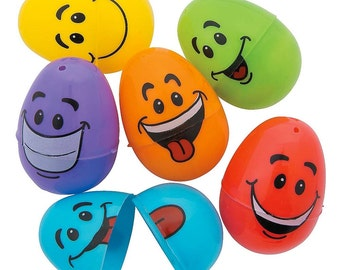 """2.5"""" Set of 12 Goofy Smile Silly Faces Plastic Eggs- SKU # FE-13679740"""