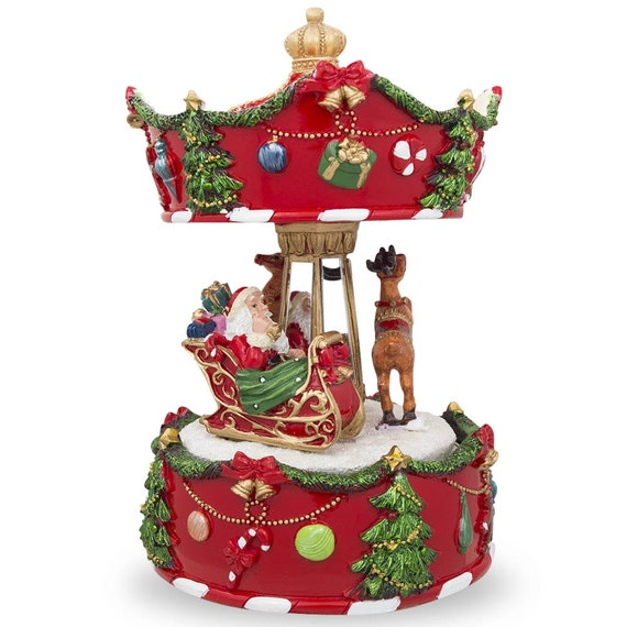 7 Animated Rotating Carousel Santa And Reindeer