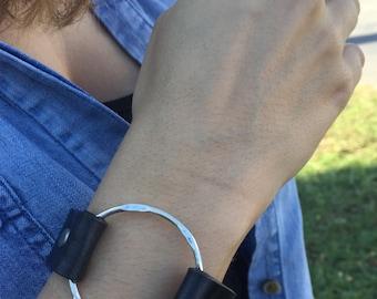 SALE! Leather Bracelet w/ Antique Silver Ring