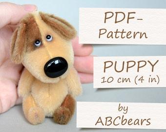 "Miniature Teddy Puppy Pattern. Teddy Pattern. Teddy bear puppy. Soft toy pattern. Teddy tutorial. Teddy bear tutorial (4""/10cm)"