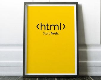 HTML Code Print, Art Print For Geeks, Web Designers, Wall Art Decor,Office Quote Computer Coding Programming html