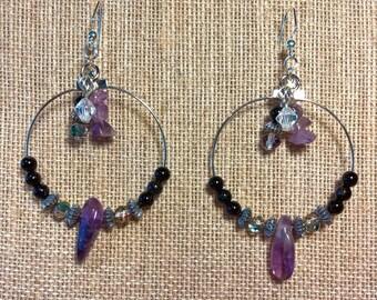 Amethyst and Black Jasper Hoop Earrings