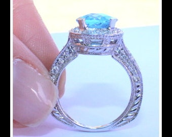 Aquamarine and Diamond Accent Ring