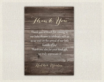Baby Shower Thank You Card Boys Girls Gender Neutral Rustic Wood Cream Shower Gender Neutral Print Yourself Thank You DIY Baby BS-2022