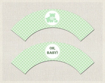 Cupcake Wrappers Green Hippo Hippopotamus Baby Shower Printable Cupcake Wrappers Gender Neutral BS-163