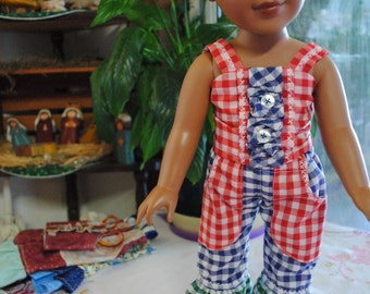 The gingham Americam Girl. Ruffled pants and top.