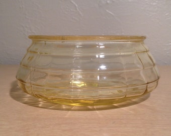 Vintage, mid-century yellow tinted glass bowl/container