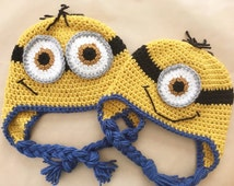 Crochet Minion Hat- All sizes, different styles!