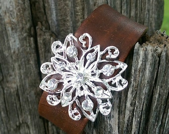 Beautiful Rhinestone Leather Cuff Bracelet