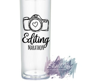 Personalized Tumbler - photographer gift, photography gift, photographer cup, camera cup, camera tumbler, photography cup, editing marathon