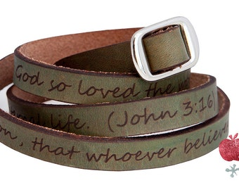Leather Wrap Bracelet -- John 3:16
