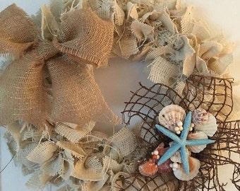 Beach wreath, summer wreath, shell wreath, burlap wreath, beachhouse wreath, nautical wreath