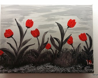 painting tulips on sand