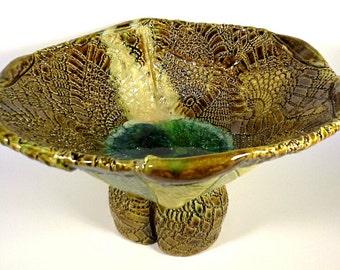 Large Sculptured Pattern Ceramic Bowl