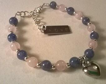 Semi precious heart bracelet
