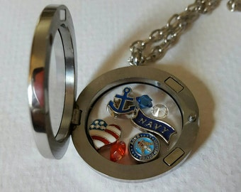 Navy Girlfriend Sailor Floating Living Locket Necklace with Charms Set