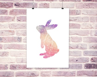 Bunny -Watercolor rainbow sparkle print - instant download
