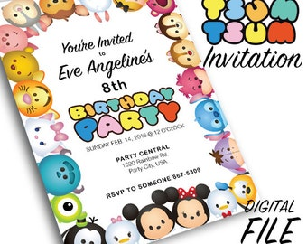 Tsum Tsum Theme Party Invitation