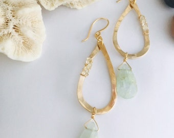 hammered gold fill tear drop earrings with Aquamarine hanging stones