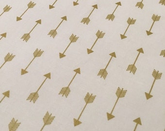 Gold Arrows 3-sided Crib Skirt, Baby Bedding, natural white and gold, Baby Crib Skirt, gold bedding, baby girl bedding, gold nursery, arrows