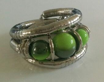 Green n Silver Spiral Metallic Bracelet