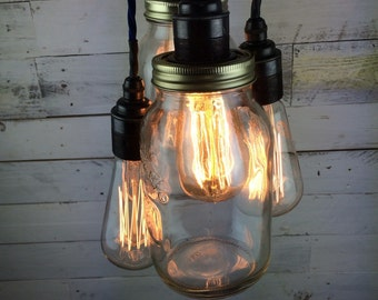 Hythe : Handmade Jars and Lights Edison Swan Pendant light for E27 Edison Screw Bulbs