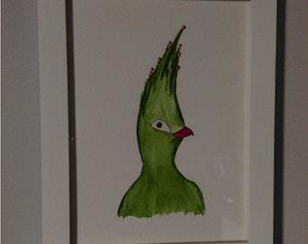 Green Bird - Original - Water Colour Painting - Framed