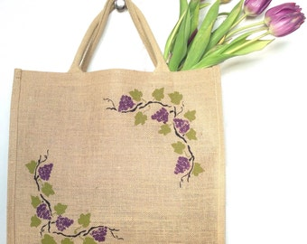 Grape vine wine reusable shopping bag-  Large. Hand painted jute carrier bag. Burlap gift bag, Mother's Day gift bag, hessian tote bag