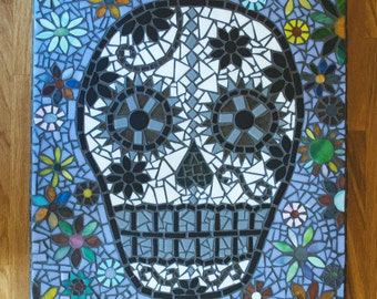 Mosaic sugar skull and flowers.
