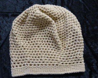 Bob Marley Style Slouch Hat crochet adult size light brown