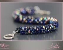 Sapphire blue spiral bracelet beads Super-Duo Silver Clasp