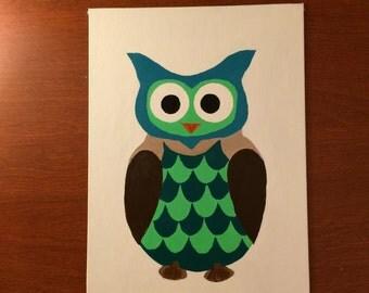 Boys Room Owl Acrylic Painting