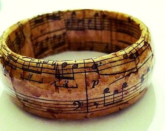 "wood bangle ""old music""decoupage"