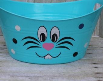 Easter Bunny face Oval Basket- Oval Basket-Toy Basket-Easter Basket-Storage Basket-Oval Tub-Easter Bunny-Bunny face basket-Toy basket