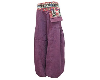 Boho Hippie Gypsy 1-Pocket Elastic Leg Opening Long Pants (F1126)